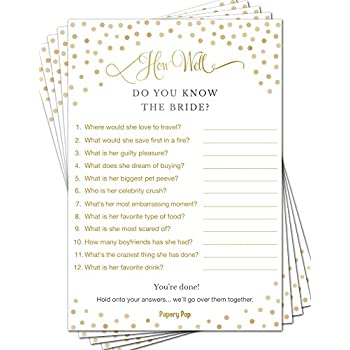 how well do you know the bride 50 sheets bridal shower games wedding shower games wedding games bachelorette party games gold