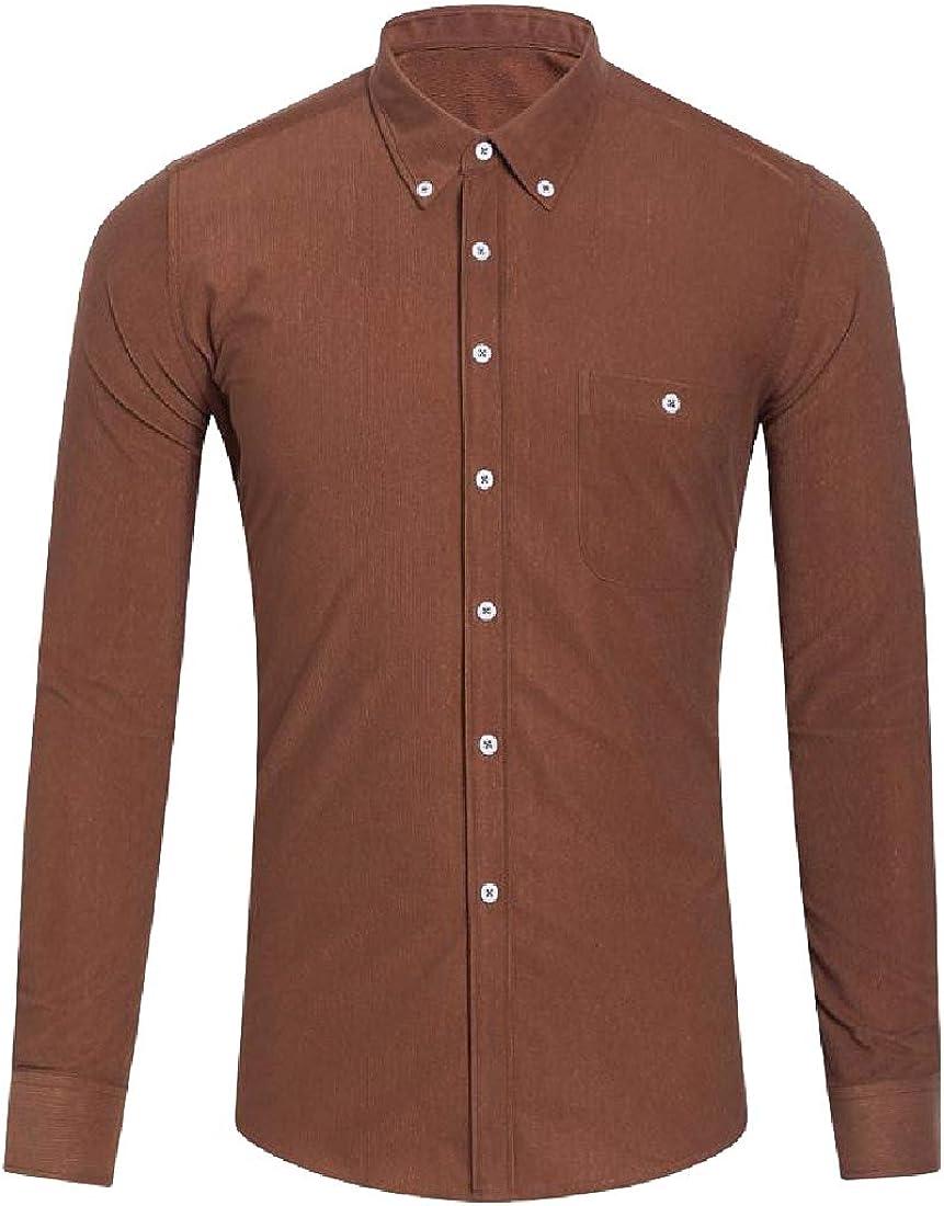 YUNY Men Corduroy Plus Size Button-Collar Long Shirt with Pockets Khaki 3XL