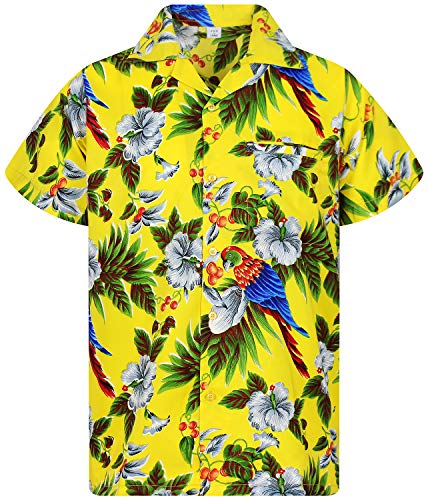 (V.H.O Funky Hawaiian Shirt, Shortsleeve, Cherryparrot, Yellow,)