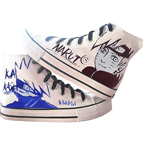 Fanstown Naruto Pittura A Mano Scarpe Di Tela Cool Sneaker + 1 Poster 5