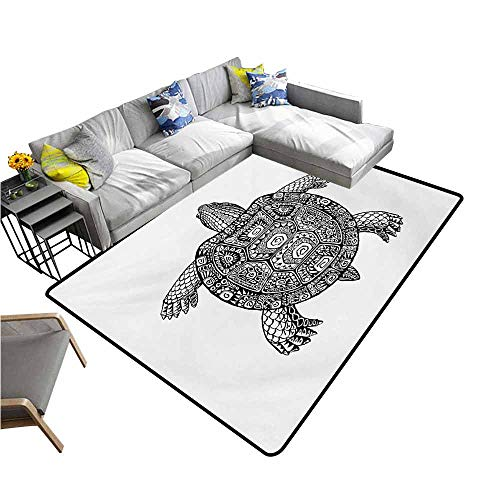 "Outdoor Kitchen Room Floor Mat Turtle,Tribal Patterns on Turtle Illustration Monochrome Animal Themed Tortoise Print,Black and White 48""x 72"",Bath Rugs for Bathroom from dsdsgog"