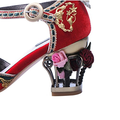 fiori con da donna Tacco sandali da scarpe 39 paillettes QPYC con con spillo diamanti donna tondo in metallo perline Tacchi a con alti con tacco di da xtTRBwqT