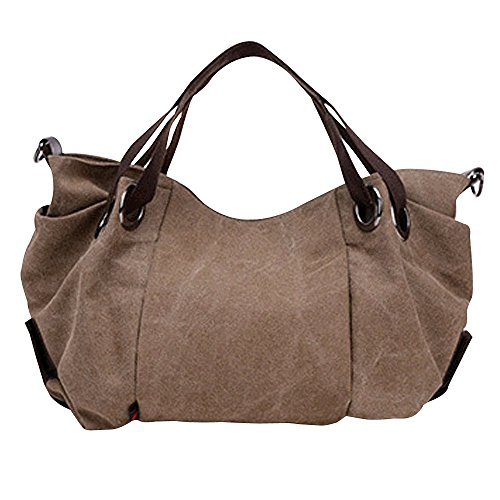 Flowertree Women's Slouchy Pleated Canvas Hobos Bag Tote Shoulder Bag (brown) by flowertree
