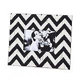 Black and Cream Chevron Stripe Wood 4x6 Picture Frame