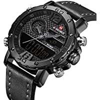 Analog Digital Watches Men Dual Time Waterproof Sport Military Date Chronograph Wrist Watch Leather Black