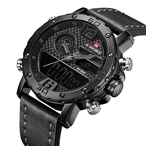Dual Time Date Watch - Analog Digital Watches Men Dual Time Waterproof Sport Military Date Chronograph Wrist Watch Leather Black
