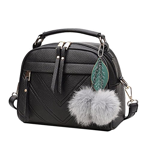 PU Satchel Women Widewing Shoulder Leather Black Handbag Bag Messenger Bag Sling w7aaXtq0g