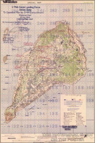 16x24 Poster; Battle Of Iwo Jima Marine Corps Map