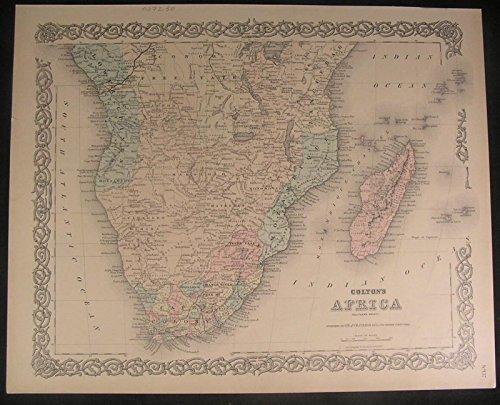 Southern Africa Madagascar Cape Colony 1886 antique color lithograph (1886 Colour Map)