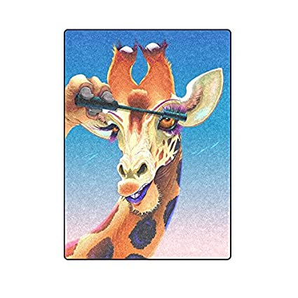 Custom Blanket Giraffe Is Applying The Mascara On Her Eyelashes New Fashion Home Decor