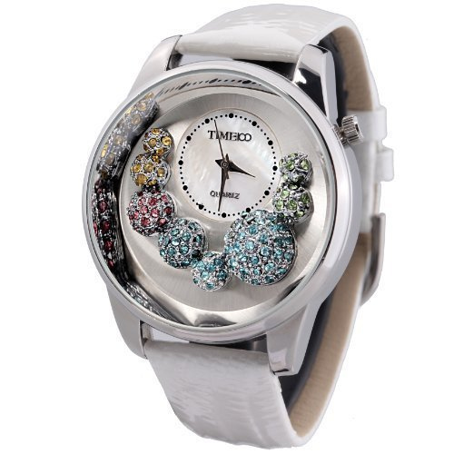 Time100 Women Diamond Quartz Movement Watch Fashion Pattern Genuine Leather Strap Dress Watches for women