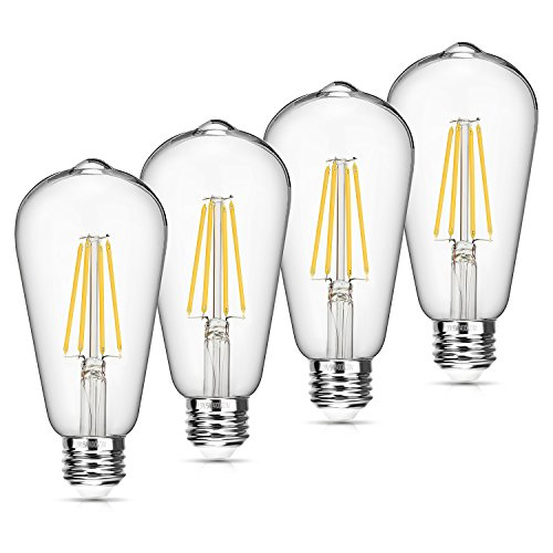 Vintage LED Edison Bulb Dimmable 6W 4000K Neutral White 660 Lumen Led Filament Light Bulb 60W Incandescent Equivalent ST64 E26 Medium Base Decorative Antique Bulb for Bathroom Kitchen Garage, 4 Pack