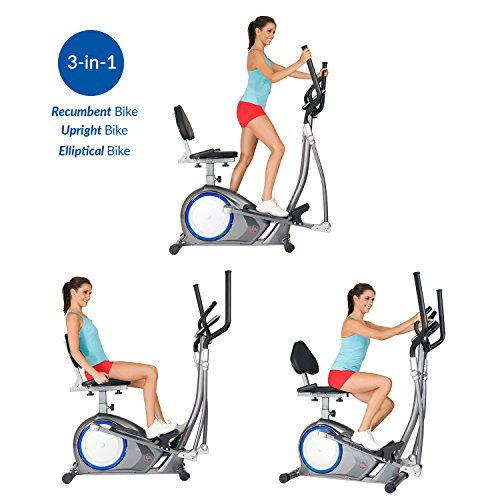 Body Power BRT6300 Black Friday Fitness Cyber Monday Promo! 3-in-1 Trio Trainer/Elliptical, Upright Stationary, and Recumbent Exercise Bike All in ONE Space Saving Machine