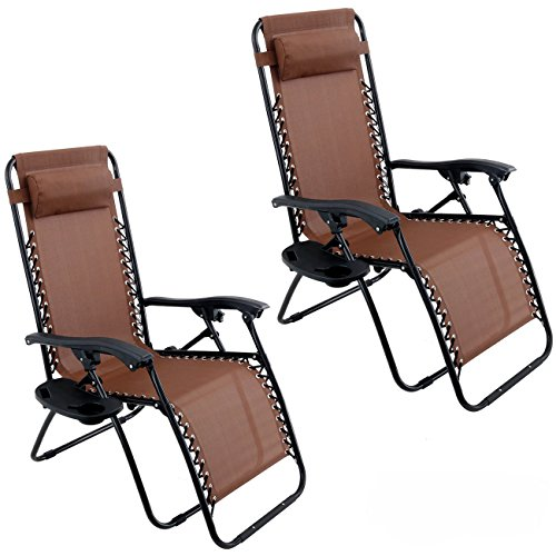 Belleze 2PC Outdoor Zero Gravity Chair Lounge Chairs Recliner Seat Yard Beach Adjustable Headrest w/Cup Holder Tray, ()