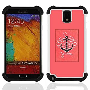 GIFT CHOICE / Defensor Cubierta de protección completa Flexible TPU Silicona + Duro PC Estuche protector Cáscara Funda Caso / Combo Case for Samsung Galaxy Note 3 III N9000 N9002 N9005 // T'Aime I Love You Pink Text Anchor //