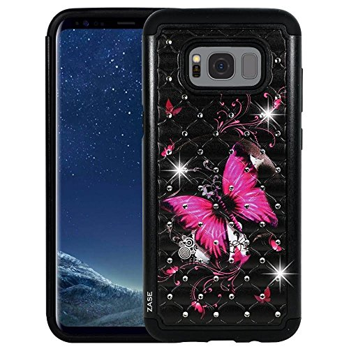 Samsung Galaxy S8 ACTIVE Case, Galaxy S8 Active AT&T Hybrid Protection [Jewel Rhinestone] Shock Resistant Armor Hard Shell Crystal Bling Cover for S8 Active by Zase (Diamond Hot Pink Butterfly Flower)
