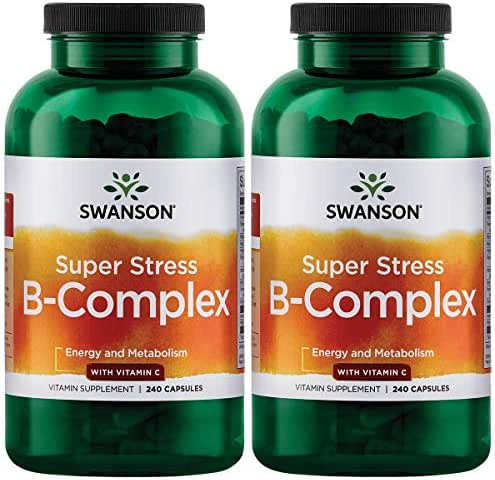 Swanson B Vitamin Stress Complex with Vitamin C Stress Relief Energy Immune Health 500 mg 240 Capsules (2 Pack)