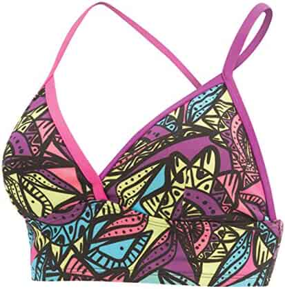 b2bf641ece846 Dolfin Women's Bellas Longline Cross Strapped Printed Swimsuit Bikini TOP