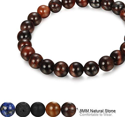 06241f3a5b FIBO STEEL 5 Pcs 8MM Natural Healing Stone Bracelets for Men Women Beaded  Bracelets Elastic