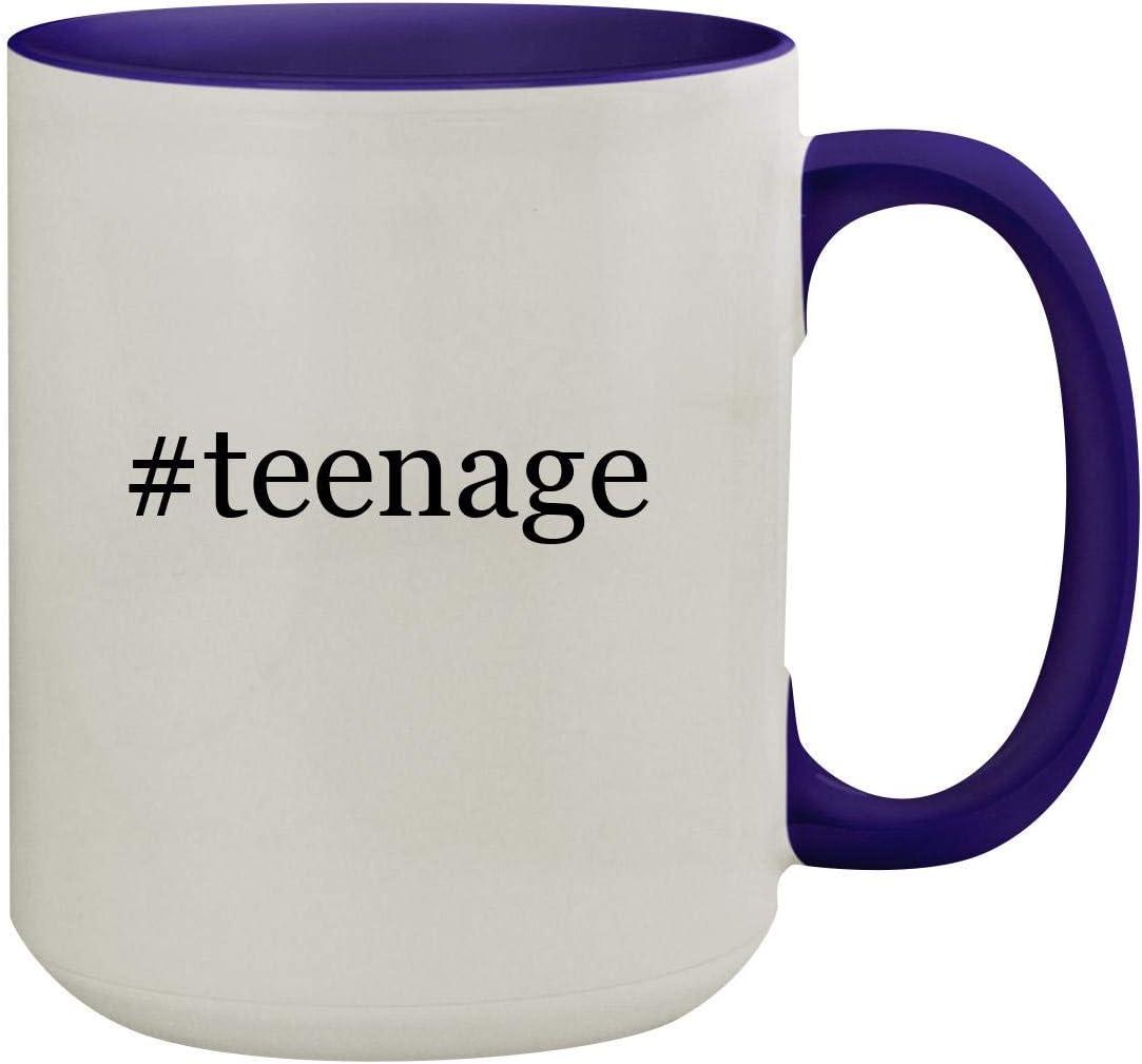 #teenage - 15oz Hashtag Ceramic Inner & Handle Colored Coffee Mug, Deep Purple