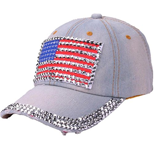 USA Bling Baseball Cap, Women Girls Sparkle Studded Rhinestone American Flag Denim Baseball Hat Jeans Rock Cap Adjustable (A)