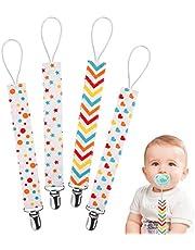 Fopspeenketting, katoen, fopspeenketting voor pasgeborenen, meisjes en jongens, slabbetje, driehoekige doek, zuiger, fopspeen 4 stuks