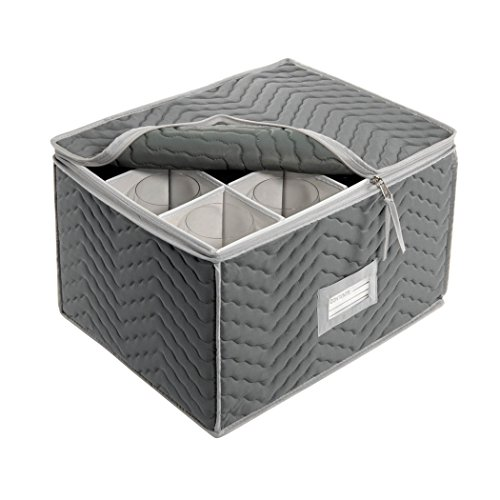 Richards Homewares Micro Fiber Deluxe Twelve Section Stemware Chest-Grey