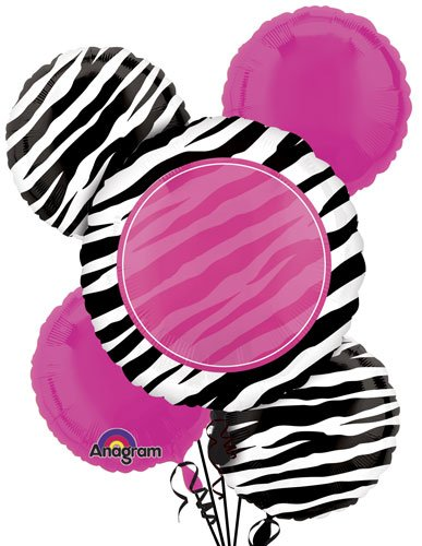 Zebra Personalized Bouquet Mylar Foil Balloons - Pack of 5 by Single Source Party Supplies