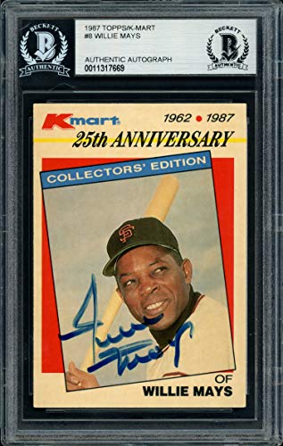 Willie Mays Autographed 1987 Topps K-Mart Card #8 San Francisco Giants Beckett BAS #11317669