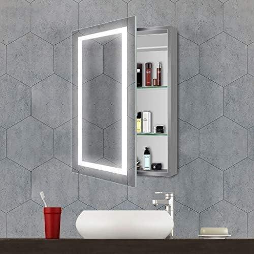 Amazon Com Led Bathroom Mirror Wall 5mm Double Layer Illuminated Bathroom Mirror Cabinet With 2 Shelf And Sensor Switch 19 69 Inch X 27 56 Toilet Mirror