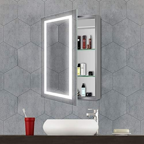 Beauty mirror LED Bathroom Mirror Wall 5MM Double Layer Illuminated Bathroom Mirror Cabinet With 2 Shelf And Sensor Switch, 19.69 Inch X 27.56 Toilet Mirror Dressing mirror by Makeup Mirrors