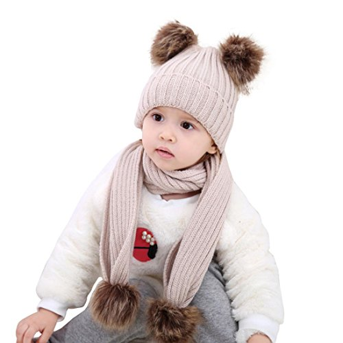 Baby Winter Hats Scarves Set, Inkach Toddler Girls Knitting Wool Earflap Hat Kids Winter Warm Caps (Khaki) ()