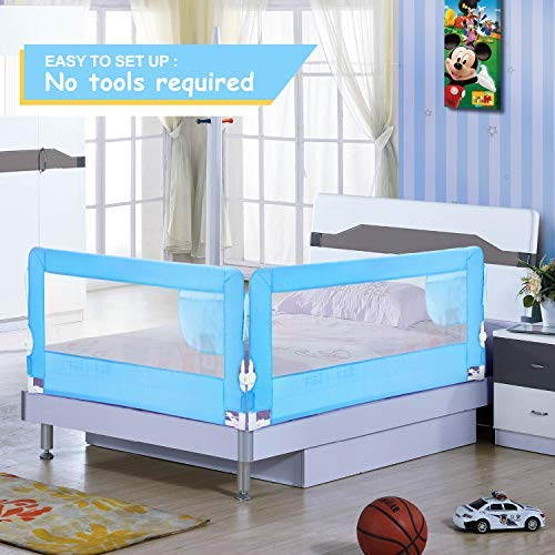 HK 56in Bed Rail Swing Down Safety Bed Rails Hide Away(HA) Bedrail Assist Extra Long BedRails, Mesh Guard Rails for Convertible Crib(1 Pack)