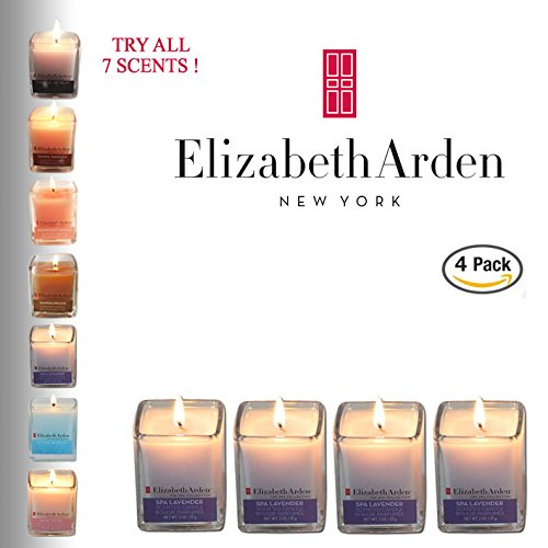Elizabeth Candle - Elizabeth Arden Spa Lavender Aromatherapy Votive 4-pack of scented Soy Candles | Kitchen & Bath Décor | Perfect Baby or Wedding Shower Favors! | 2 OZ each | Made in the USA