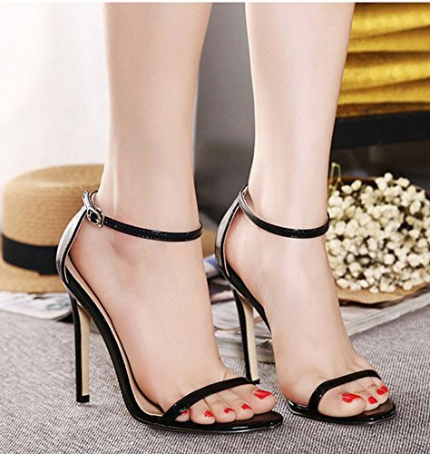 Aisun Donna Classico Semplice Open Toe Con Fibbia Tacchi Alti Dressy Stiletto Tacchi Alti Sandali Scarpe Con Cinturini Alla Caviglia Nero