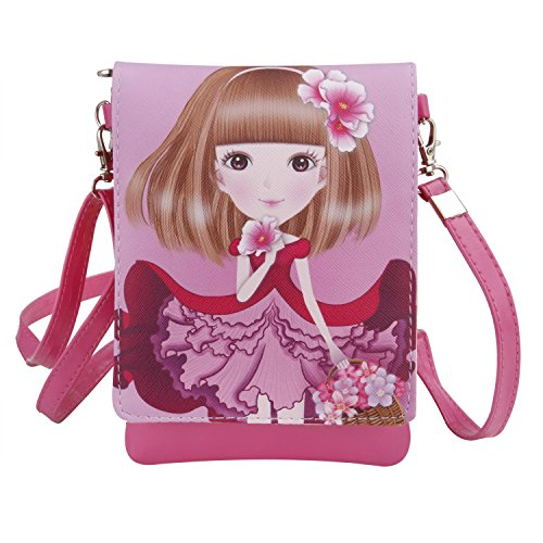 Kids Girls Toddlers Students Cute Cartoon Mini Shoulder Bags Cross Body Bags PU Leather Cell Phone Holder Case Purse Wallet Pouches Clutch Handbag