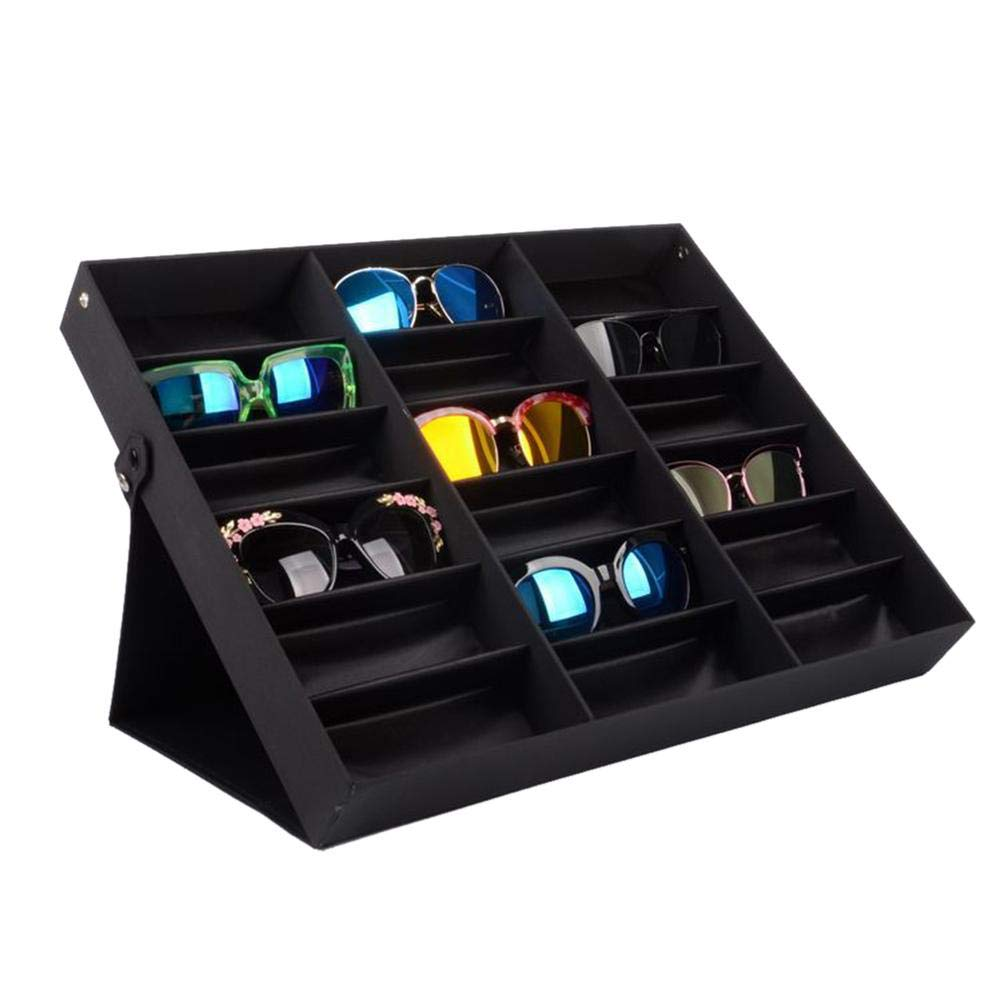 Dacyflower Black Glasses Storage Box 18 Compartment Sunglasses Display Stand
