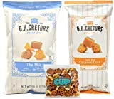 G.H. Cretors Popped Corn - 8 Ounce Bag of Just the Caramel Corn and 7.5 Ounce Bag of The Mix, Cheddar and Caramel Corn - with 4 Ounce Bag of By The Cup Snack Mix