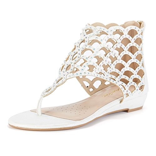 DREAM PAIRS Women's Jewel_08 White Rhinestones Design Ankle High Flat Sandals Size 7 M - Gladiator Women Shoes