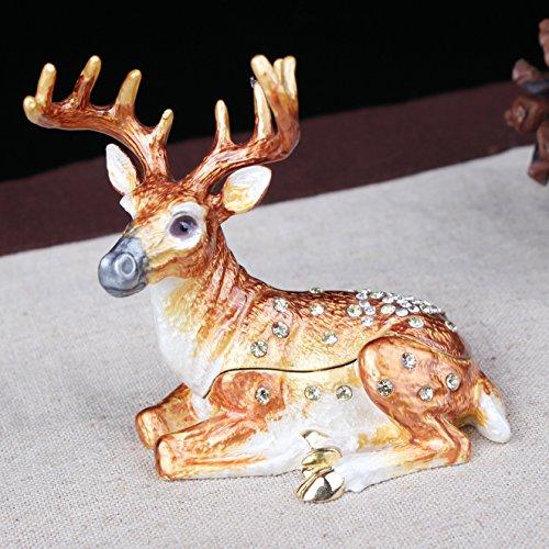 (Deer Trinket Box Metal Deer Fawn Jeweled Enamel Trinket Box Christmas Decor Deer Gift (Crystals))