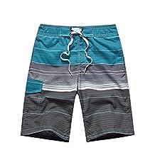 YOUJIA Men's Boardshorts Stripe Print Straight Edge Beach Surf Shorts