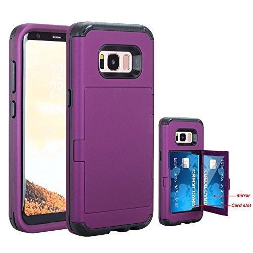 Galaxy S8 Case, NOKEA Wallet Case Card Slot Hidden Pocket Layered 3 in 1 Hard PC Case Silicone Shockproof Heavy Duty High Impact Armor Hard Case for Samsung Galaxy S8 (2017). (Purple)