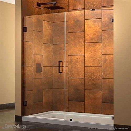 """DreamLine UnidoorLux 53"""" Frameless Hinged Shower Door, Clear"""