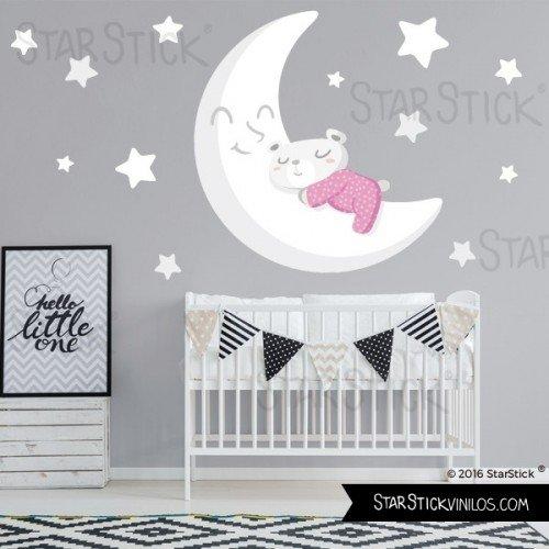 Mediano Vinilo beb/é Osito en la luna blanca Rosa 160x70 cm- Vinilo infantil T2 StarStick