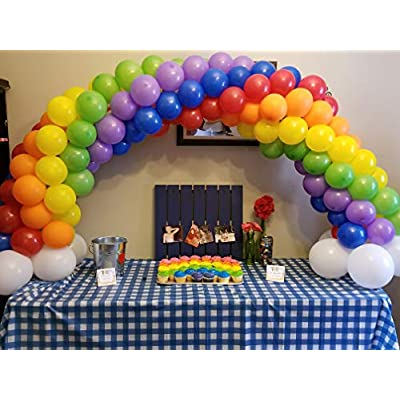100 pcs 12 inch Latex Colorful Balloons Thick Solid Rainbow Balloons 10 Different Colors for Multi Color Balloon Theme Party, Balloon Garland, Balloon Arch, and Balloon Column Stand: Toys & Games