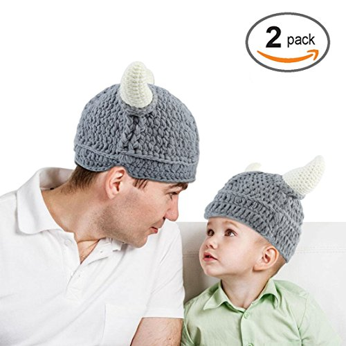 Baby Infantl and Parent Hat Toddler Knit Viking Beanie Crochet Handmade Cap Baby Photography Props (Toddler & Parent, Grey) (Creative Simple Halloween Costumes)
