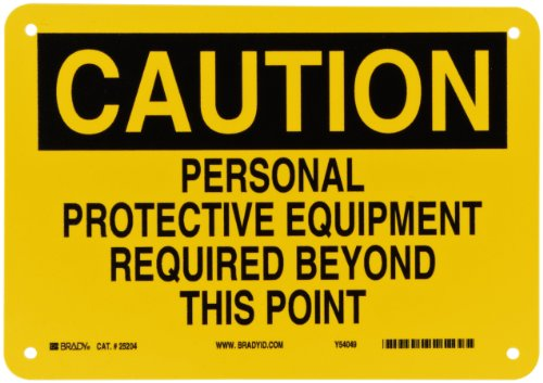 """Brady 25204 10"""" Width x 7"""" Height B-401 Plastic, Black on Yellow Protective Wear Sign, Header """"Caution"""", Legend """"Personal Protective Equipment Required Beyond This Point"""""""