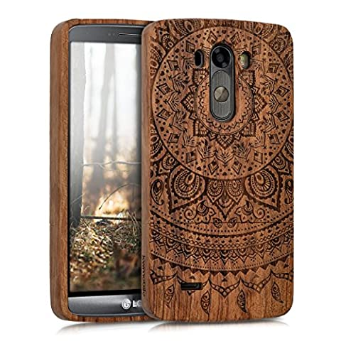 kwmobile Natural wood case with Design Indian sun for the LG G3 in rosewood dark brown (Real Wood Cover For Lg G3)