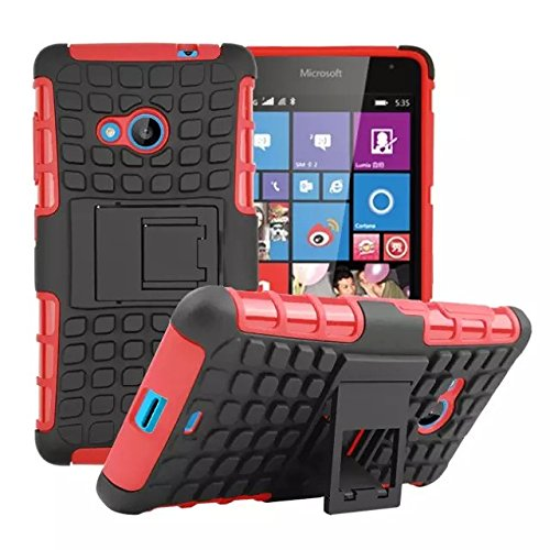 Lumia 535 Case [iCoverCase] Heavy Duty Armor Hybrid [Dual Layer] KIickstand Back Holster Shockproof Cover Protecive Case for Microsoft Nokia Lumia 535 (Red) - Nokia Lumia 535 Case