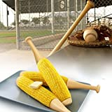 CKB Ltd Set Of 2 - Novelty Baseball Bat Corn On The Cob Holder Forks Sticks - Plastic Screw In Design